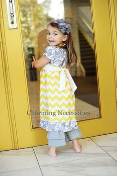 Chevron Spring Girls Peasant Dress with Ruffles in You Are My Sunshine. $40.00, via Etsy.