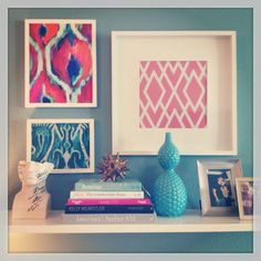 Fabric in frames and cute shelf style