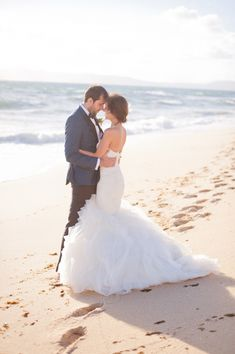 gorgeous beach wedding portrait // photo by Piteira Photography http://ruffledblog.com/portuguese-beach-wedding #portraits #beachwedding #wedding