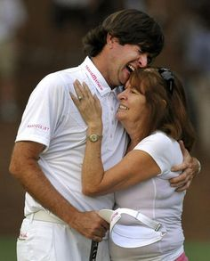 Bubba Watson crying with his mother after winning the 76th Masters. Doesn't get any better than that.