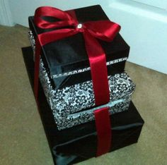 DIY Cardbox...my 1st of many projects :  wedding black box card cardbox diy inspiration reception red white Cardbox