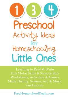 134 Preschool Activity Ideas for Homeschooling Little Ones - a free homeschool resource unit at Free Homeschool Deals