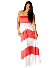 Plus-Size-Strapless-Colorblock-Chevron-Striped-Maxi-Dress-3XL-Coral-0
