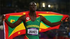 Kirani James of Grenada celebrates after winning the gold medal in the men's 400m final.