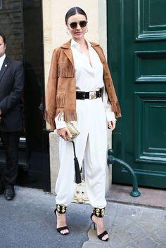 Miranda Kerr in a killer fringe jacket