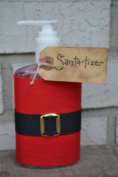 Cute idea Santa-tizer Hand Sanitizer from Yall Come Back Decor on Etsy.