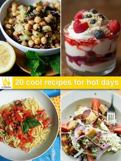 No-cook tomato sauce, chickpea salad, berry fool, and more cool, no-heat recipes for hot days.