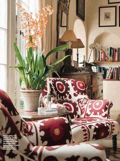 interior design, design homes, chair fabric, design interiors, kathryn ireland, living room designs, upholstered chairs, boho, modern interiors