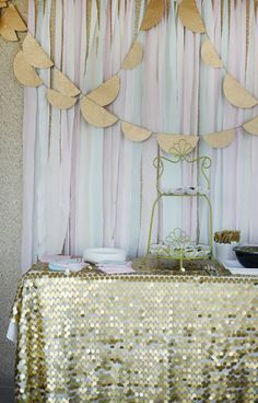 Spray paint doilies gold and make banners