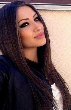 long straight dark hair