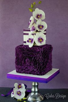 Beautiful Deep Purple Ruffles & Flowers Tiered Cake
