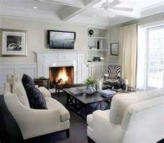 living rooms - white sofa sand beige chairs nailhead trim blue circles ...