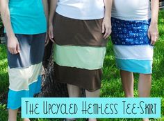crafterhours: Upcycled Hem-less Tee-Skirt: a Tutorial by Bonnie of Fishstick Designs