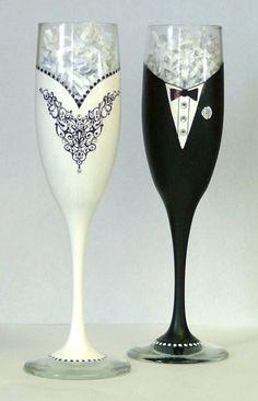 Wedding or Black Tie champagne glasses. $65.00, via Etsy.