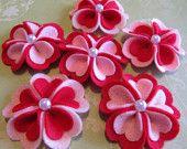 heart felt flower clips