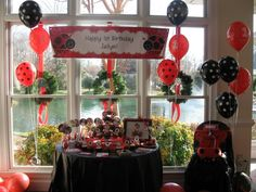 Ladybug Party Ideas - One of our customers sent in this picture from their ladybug birthday party! Find more Ladybuy Theme Supplies at http://www.birthdayinabox.com/party-themes/boxbuilder.asp?dept_id=472