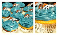Bronco cupcakes with DIY Bronco toothpick toppers. www.hisdarlinwife.blogspot.com