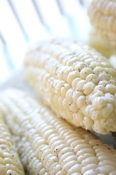 baked corn on the cob...place on a baking sheet husk and all.  Bake for 30-45 minutes at 350 degrees.  The Best tasting ever!