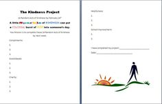 Kindness Project: students complete things in each category over the course of a week