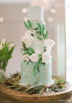 Beautiful mint green and white wedding cake.