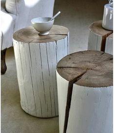 Tree stump side tables