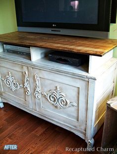 cute refinished furniture made into a tv stand