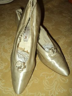 Antique wedding shoes 1800s Silk Rosettes with by Bellasoiree, $295.00