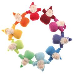 Adorable! Pocket Gnome Waldorf Dolls in rainbow colors, cotton and wool. Made in Germany. $8.95 each.