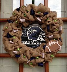 Burlap Seahawks football wreath