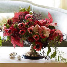 red doors, bouquet, flower arrang, floral arrangements, centerpieces, christmas flowers, berries, anemones, the holiday