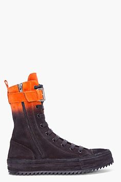Ann Demeulemeester Orange Ombre Suede Ankle Sneakers for Men | SSENSE
