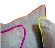 possible DIY - add vibrant piping to a neutral pillow