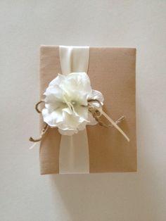 Rustic wedding photo album, tea dyed muslin, white hydrangeas, cream ivory ribbon and rope bow