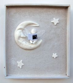 Mixed Media Angel and Moon Shadow Box Collage by Studiomoonny