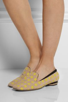 Printed suede #slippers#flats #shoes by Nicholas Kirkwood