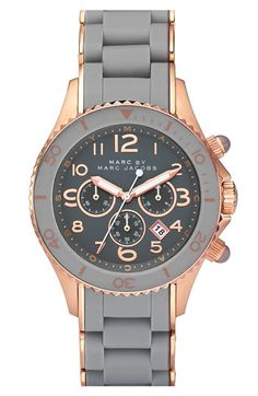 Grey & rose gold watch by Marc Jacobs