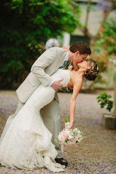 wedding kiss http://www.weddingchicks.com/2013/10/28/vintage-wedding/