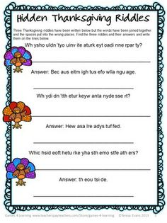 Thanksgiving Word Puzzles FREEBIE Hidden Thanksgiving Riddles - students find 3 Thanksgiving riddles and their answers.