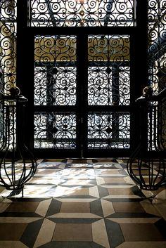 Wrought iron & floor pattern