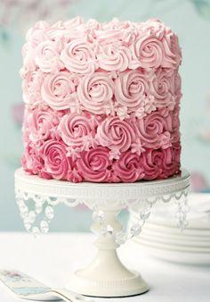 Frosting Rose Swirl  wedding cake- in gradate pink