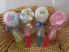 Washcloth Lollipops For Baby Shower Favors