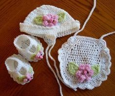 crochet baby hat, bib, shoes pattern
