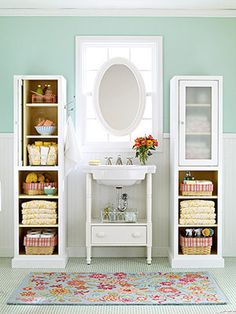 Tall narrow cabinets provide storage without using up too much floor space.