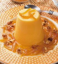 Flan de naranja con nueces #receta #postres