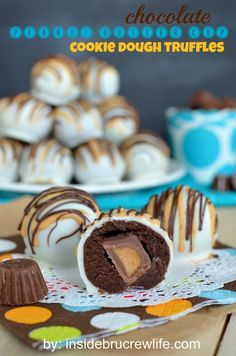 Chocolate Peanut Butter Cup Cookie Dough Truffles - chocolate cookie dough wrapped around a Reese's  peanut butter cup mini and dipped in wh...