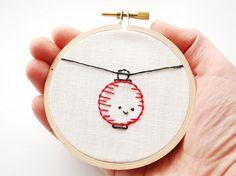 A splendidly cute Chinese lantern stitchery.  #stitchery #crafts #kawaii