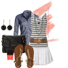 """""""Chambray & Tiered Skirt"""" by sharon-grisnich on Polyvore"""