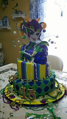 A Mardi gras b-day cake