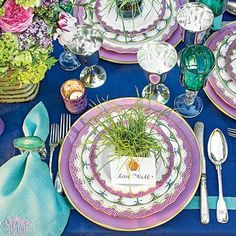 The Place Setting | Here, Jane Scott artfully layered Raynaud's Festivite and Herend's Fish Scale china with lavender Anna Weatherley chargers. But even when you're thinking outside the box, keep the classics on lock: Old standbys, such as your grandmother's silver flatware, can ground even the most contemporary scheme. | SouthernLiving.com
