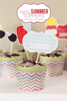 FREE printable Hello Summer Toppers by Kiki and Company for iheartnaptime.com -perfect for a summer BBQ!